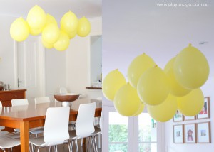 hanging balloons upside down from the ceiling