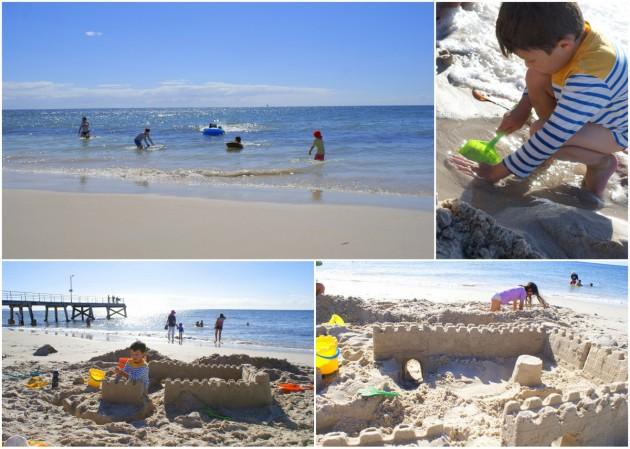 Normanville Beach sandcastles
