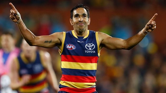 ADELAIDE, AUSTRALIA - SEPTEMBER 10: Eddie Betts of the Crows celebrates a goal during the 2016 AFL First Elimination Final match between the Adelaide Crows and the North Melbourne Kangaroos at the Adelaide Oval on September 10, 2016 in Adelaide, Australia. (Photo by Adam Trafford/AFL Media)