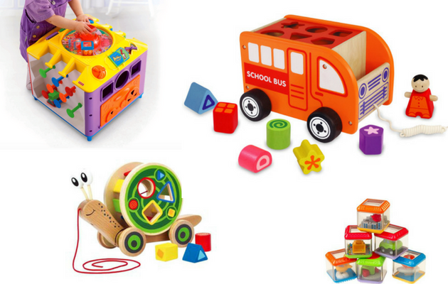 Birthday Present Ideas for One Year Olds - shape sorters and blocks