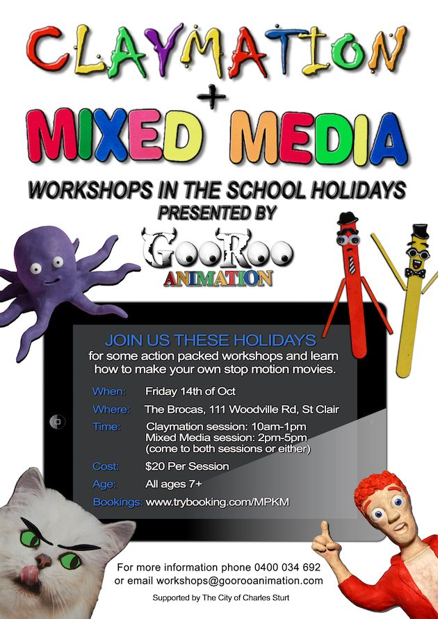 school-holidays-claymation-mixed-media-workshops-poster-the-brocas-oct-14