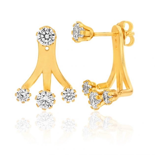 9ct Gold Filled Zirconia Ear Jackets $99 pair