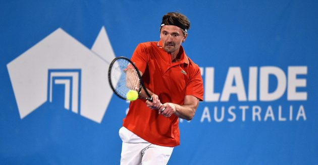 ADELAIDE, AUSTRALIA - JANUARY 14: Goran Ivanisevic of Croatia competes against Mats Wilander of Sweden during the 2016 World Tennis Challenge match at Memorial Drive on January 14, 2016 in Adelaide, Australia. Ê (Photo by Daniel Kalisz/Getty Images)