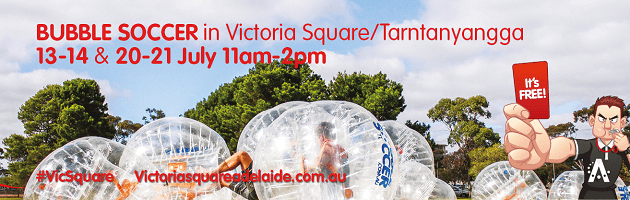 Bubble soccer in Victoria Square