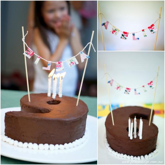 Mini Name Bunting Birthday Cake
