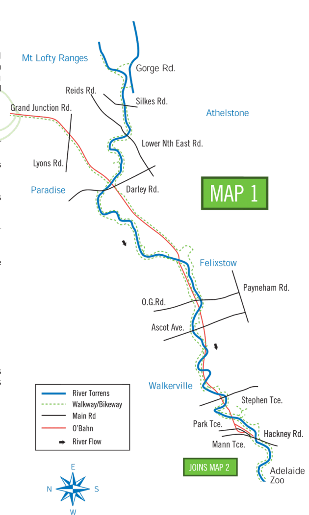 River Torrens Linear Park Bike Ride Map