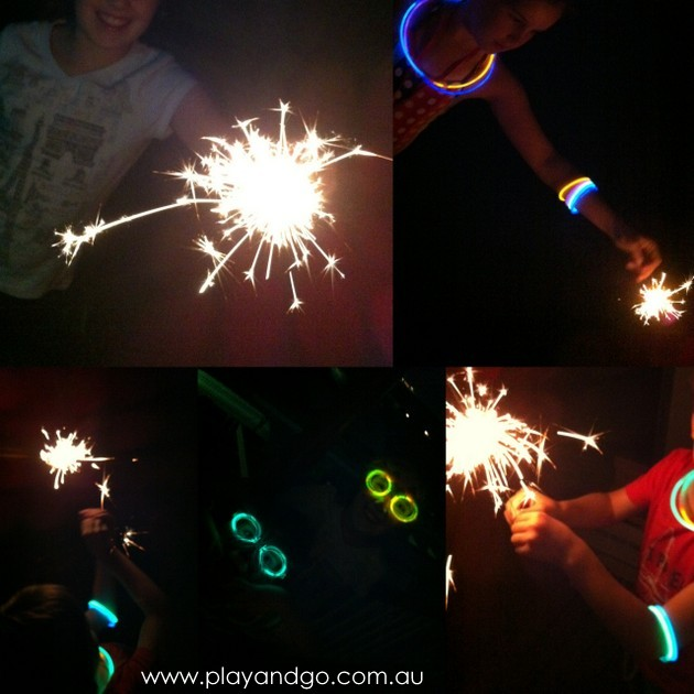 New Year's Eve fun at home with sparklers
