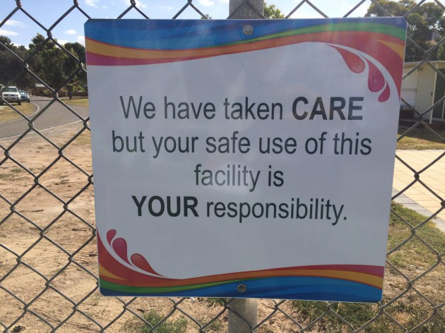 Splash Town responsibility sign