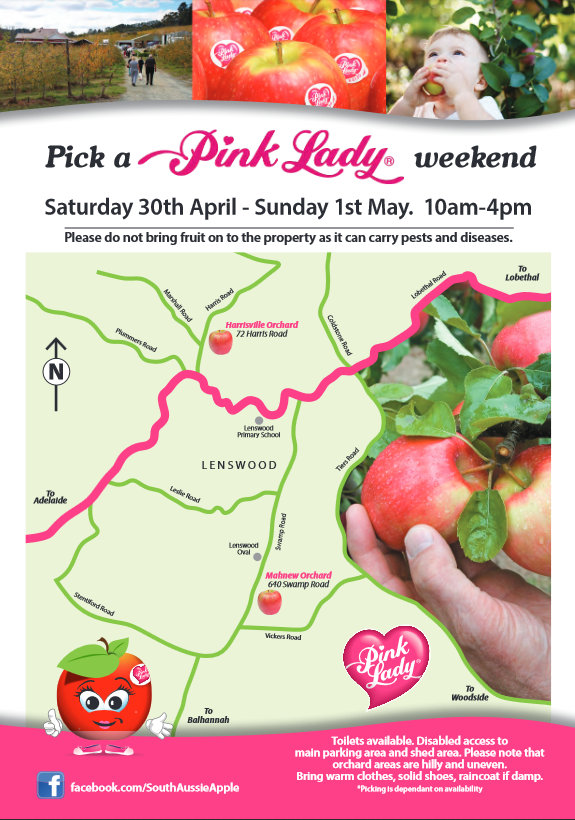 pick apples pink lady map