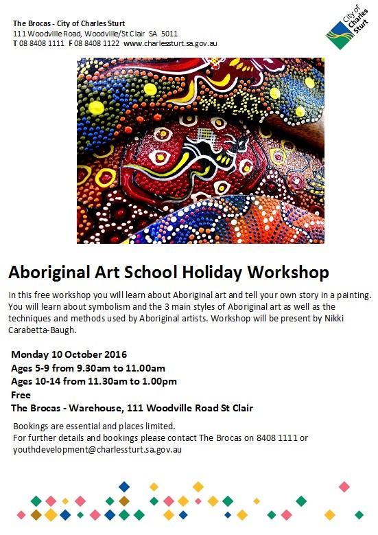 Aboriginal Art School Holiday Workshop St Clair 10 Oct 2016