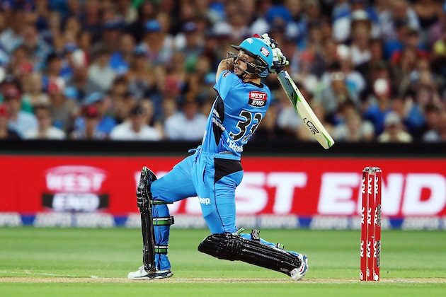 during the Big Bash League match between the Adelaide Strikers and the Hobart Hurricanes at Adelaide Oval on January 13, 2016 in Adelaide, Australia.