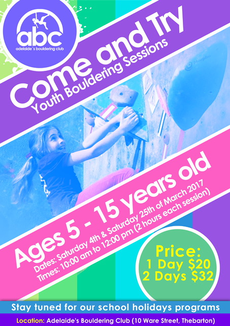 Adelaide Bouldering Club Come & Try Bouldering