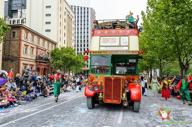 PCU credit union christmas pageant bus
