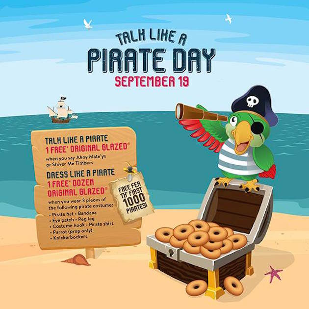 Image result for krispy kreme talk like a pirate day 2019