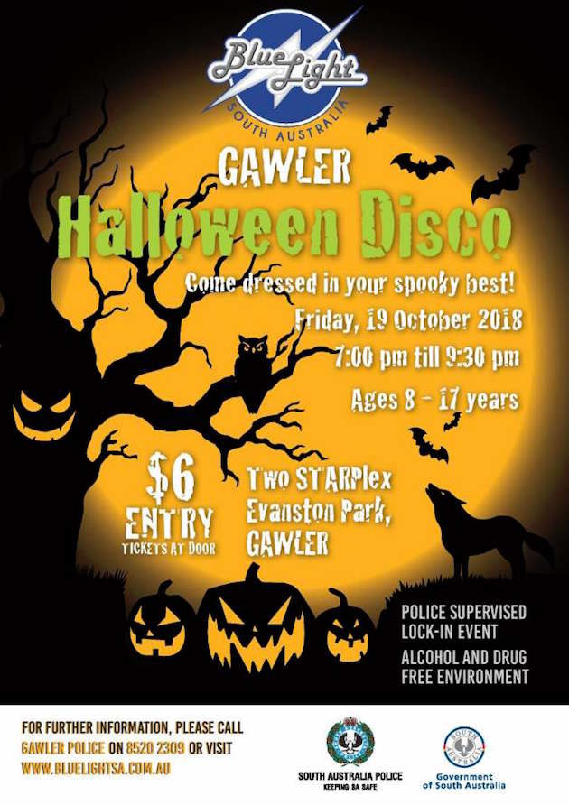 Halloween Disco.Gawler Blue Light Halloween Disco 19 Oct 2018 What S On For