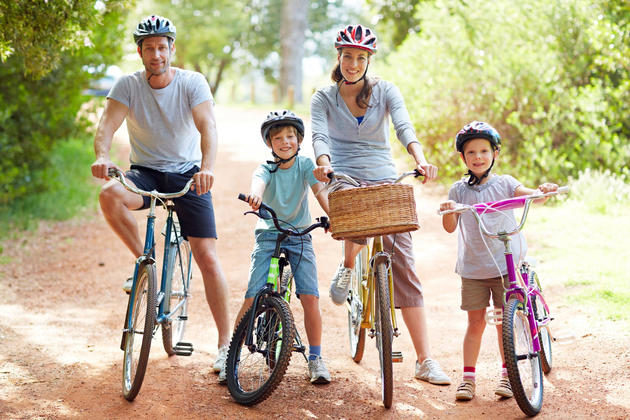 family bike ride and nature play afternoon
