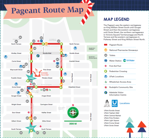 adelaide christmas pageant route map 2019