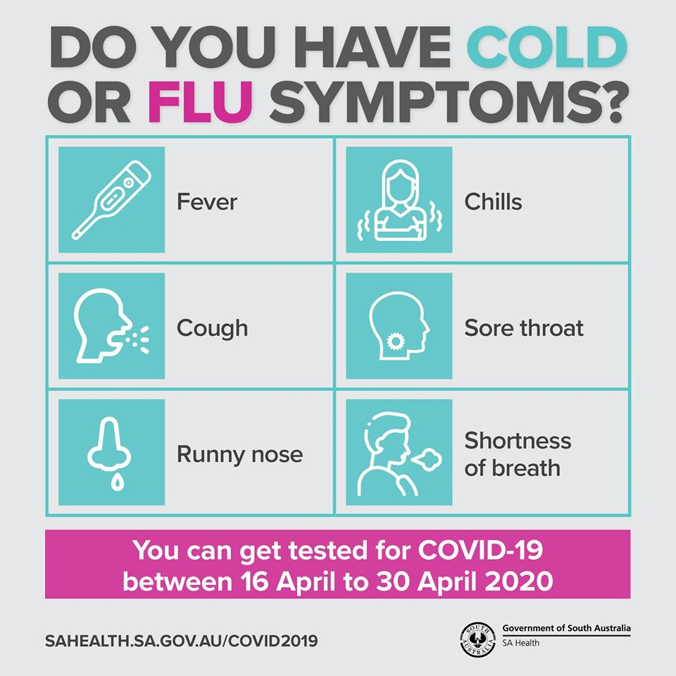 Coronavirus Testing Blitz For Any South Australians With Cold Or Flu Symptoms What S On For Adelaide Families Kidswhat S On For Adelaide Families Kids