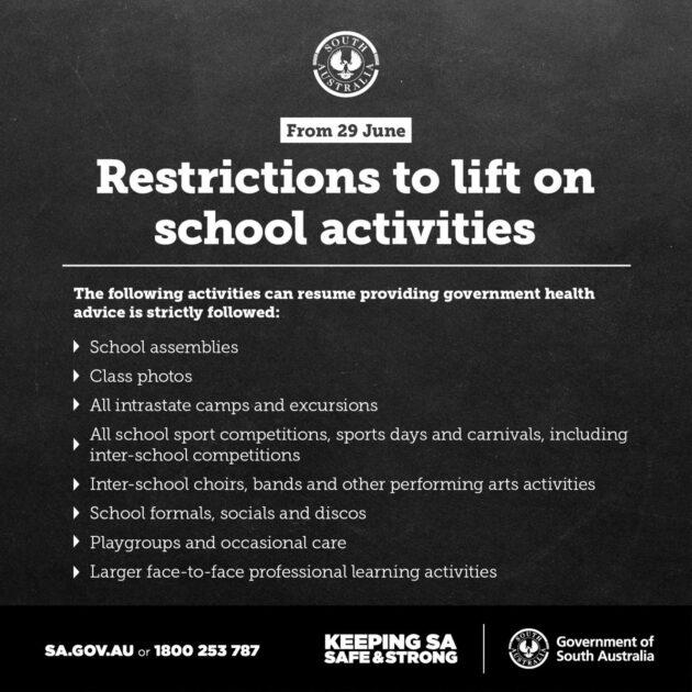 restrictions to lift on school activities