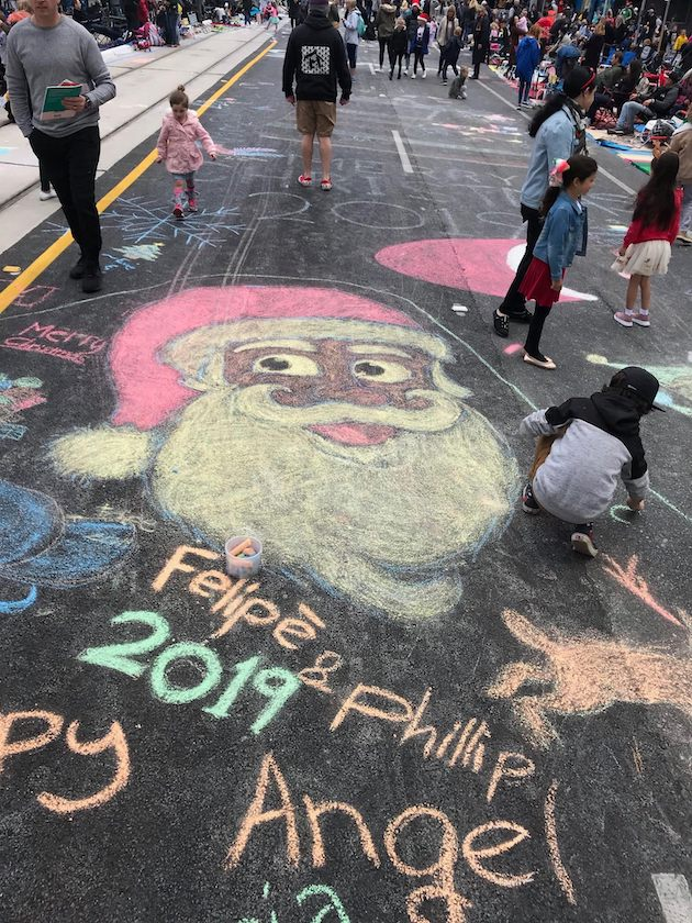 chalk drawing Christmas pageant