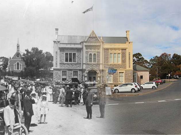 Angaston Town Hall 1920 & 2020 (R Bolton)