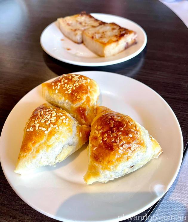 Pork pastry and Radish cake (lo bok gao)